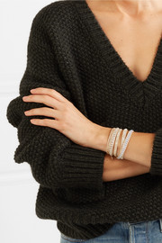 Rose gold and silver-tone multi-stone wrap bracelet