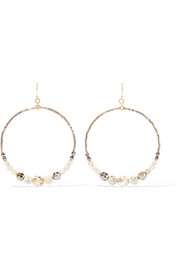 Multi Brioche gold-tone, bead and crystal hoop earrings