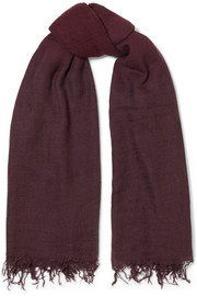Chan Luu Fringed ombré cashmere and silk-blend scarf