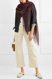 Fringed ombré cashmere and silk-blend scarf