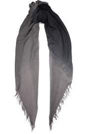 Chan Luu Fringed ombré metallic cashmere and silk-blend scarf