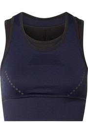 Blackout layered stretch-knit sports bra
