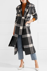Mariana checked brushed-felt coat