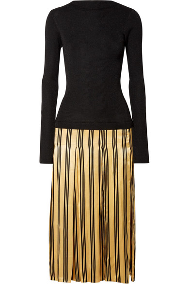 By Malene Birger - Lorenas Ribbed-knit And Striped Satin Midi Dress - Black