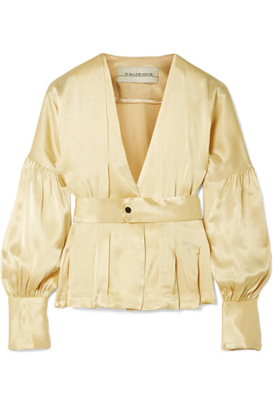 By Malene Birger - Felipe Belted Washed-satin Top - Gold