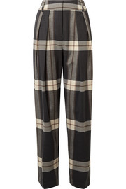 Lorrany checked felt wide-leg pants