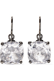 Oxidized silver, glass and cubic zirconia earrings