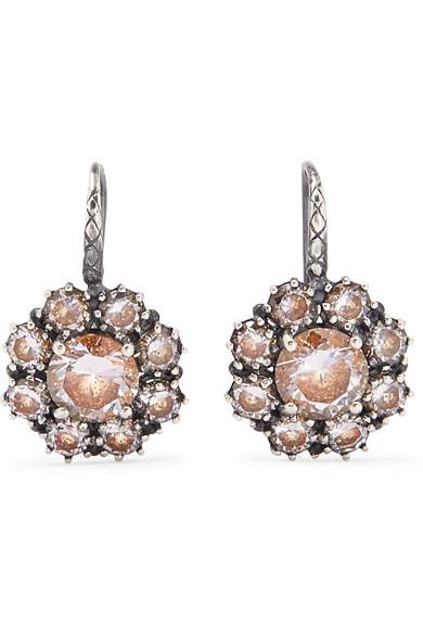 Bottega Veneta - Oxidized Silver Crystal Earrings