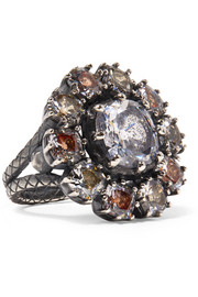 Bottega Veneta Oxidized silver, glass and cubic zirconia ring