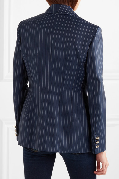 Versace Gestreifter Blazer aus Woll-Twill