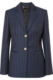 Striped wool-twill blazer