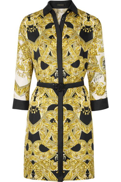Versace Mini Dress In Printed Silk-twill With Belt