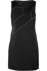 Versace Studded paneled satin and crepe mini dress