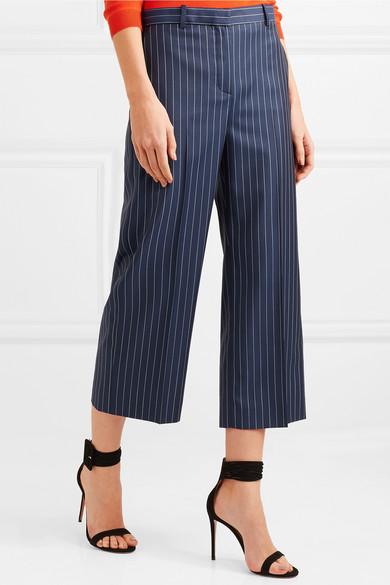 Versace Verkürzte Hose mit weitem Bein aus gestreiftem Woll-Twill