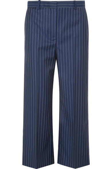 Cropped Striped Wool-twill Wide-leg Pants - Navy Versace WWP9G9oBR