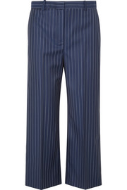 Versace Cropped striped wool-twill wide-leg pants