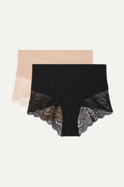 Undie-tectable set of two stretch-jersey and lace briefs