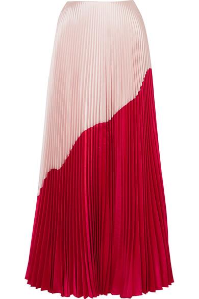 Reem Acra Zweifarbiger Maxirock aus Taft aus einer Seiden-Wollmischung mit Falten