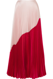 Two-tone pleated silk and wool-blend taffeta maxi skirt
