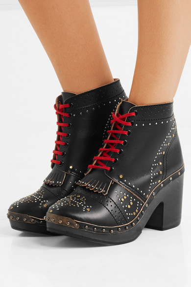 Studded Leather Ankle Boots by Burberry