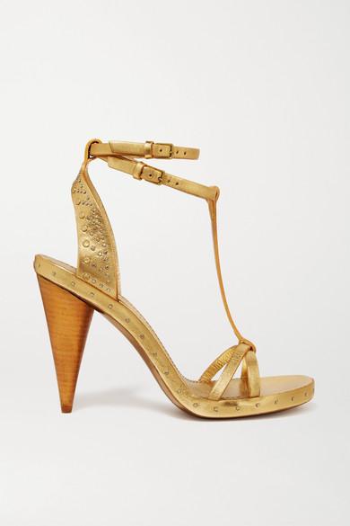 7d1071d0b48 Burberry. Studded metallic textured-leather sandals