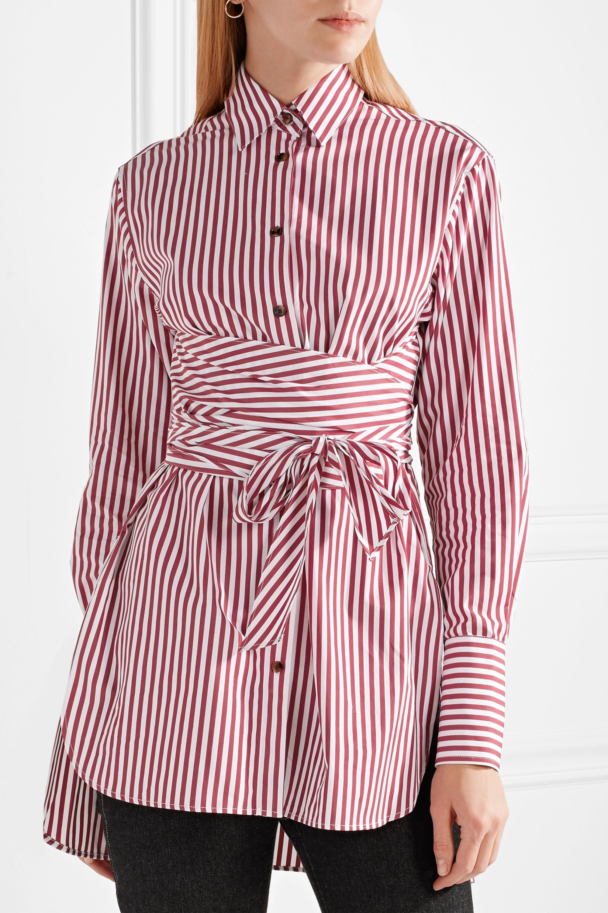 Khaite Bianca tie-front striped cotton-poplin shirt