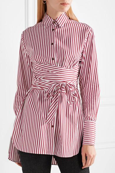 Khaite Bianca gestreiftes Hemd aus Baumwollpopeline mit Bindedetail
