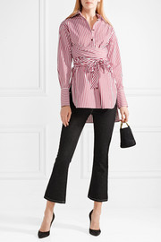 Bianca tie-front striped cotton-poplin shirt