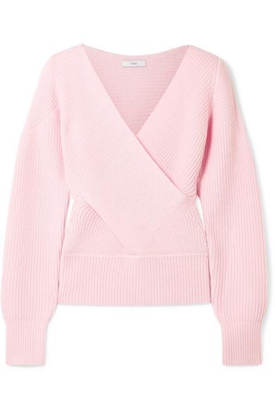 TOME Gerippter Pullover aus Merinowolle mit Wickeleffekt und Cut-out