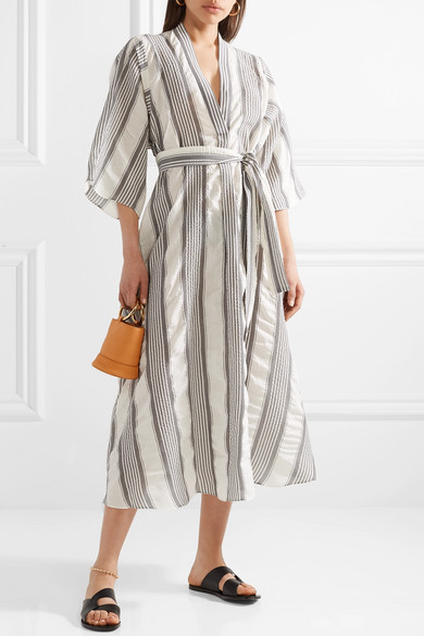 Tome Striped Midi Dress In Voile In Wrinkle Optics