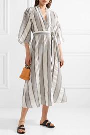 TOME Striped crinkled-voile midi dress