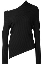One-shoulder ribbed merino wool sweater