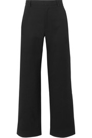 Cotton-blend faille wide-leg pants