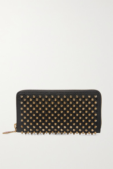 Panettone Embellished Zip-Around Leather Wallet in Black