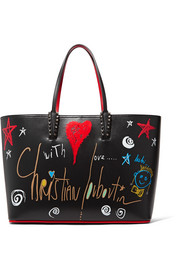 Cabata spiked printed leather tote
