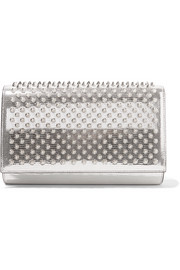 Paloma spiked metallic lizard-effect leather clutch