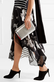 Christian Louboutin Paloma spiked metallic lizard-effect leather clutch