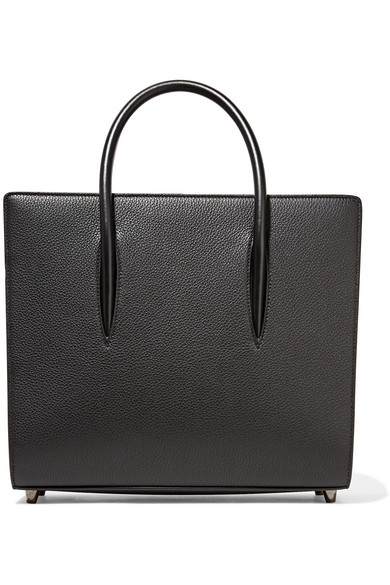 Christian Louboutin - Paloma Medium Spiked Textured, Smooth And Patent-leather Tote - Black
