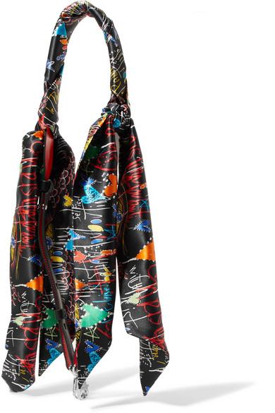 Christian Louboutin Taschenträger aus bedrucktem Seidensatin und Leder