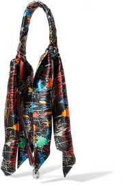 Christian Louboutin Printed silk-satin and leather bag strap