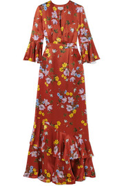 Venice floral-print silk-satin gown