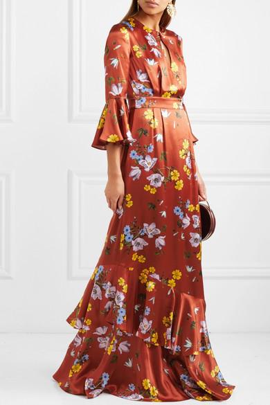 Erdem Venice Robe aus floral bedrucktem Seidensatin