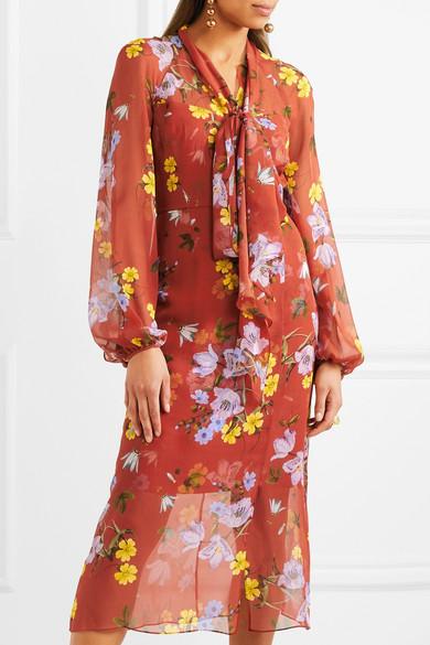 Erdem Tamaryn Kleid aus Seidenchiffon mit Blumendruck und Schluppe
