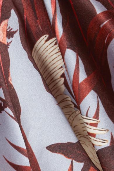 Erdem Florence Midikleid aus bedrucktem Seidensatin mit Volants
