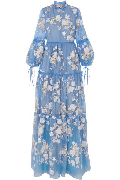 Erdem Cassandra Robe aus Seidenorganza mit Rüschen und Stickerei