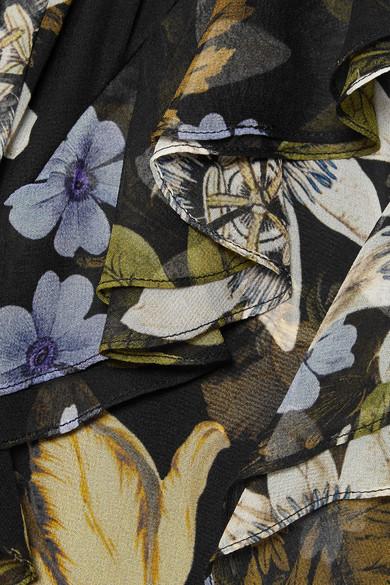 Erdem Riva Robe aus bedrucktem Seidenchiffon mit Rüschen