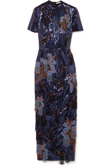 Addition Emilie Decorated Midi Dress In Crêpe Sequined