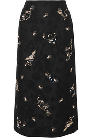 Maira embroidered cotton-blend jacquard pencil skirt