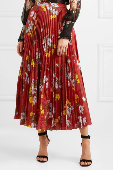 Erdem Nesrine Midirock aus glänzendem Jacquard mit Blumendruck