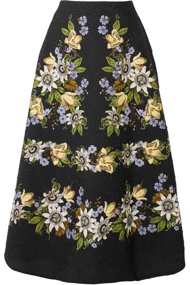 Erdem Tiana Midirock aus Cloqué mit floralem Print